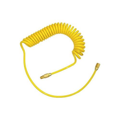 สายลม PU แบบขดสปริง พร้อมข้อต่อ ( สีเหลือง 12x8mm. 10M.)- Twister