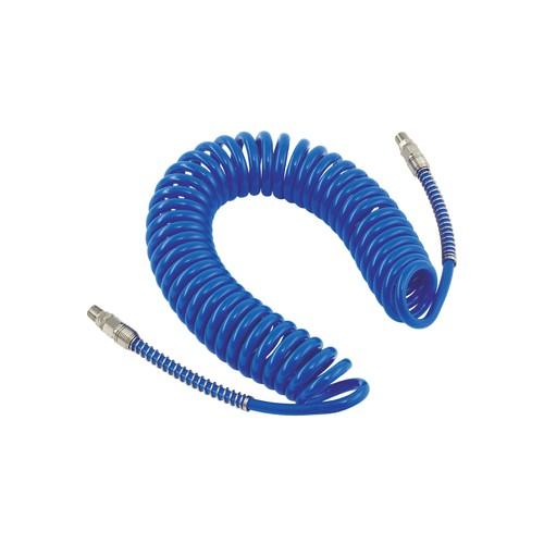 สายลมPUแบบขดสปริง พร้อมข้อต่อ สีน้ำเงินยาว 10M. - Twister